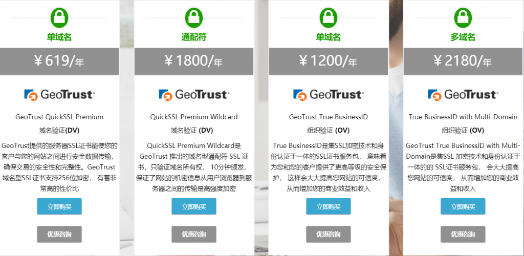 GeoTrust SSL证书价格