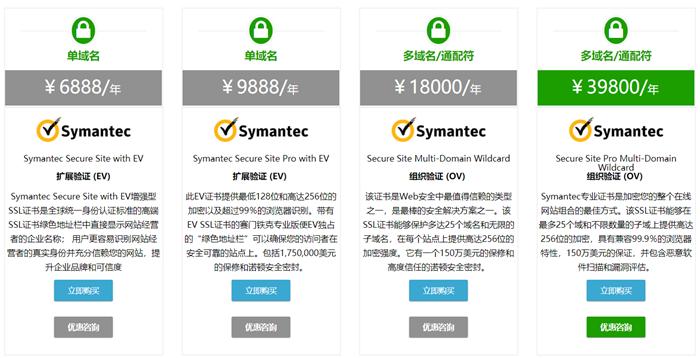 Symantec SSL证书价格