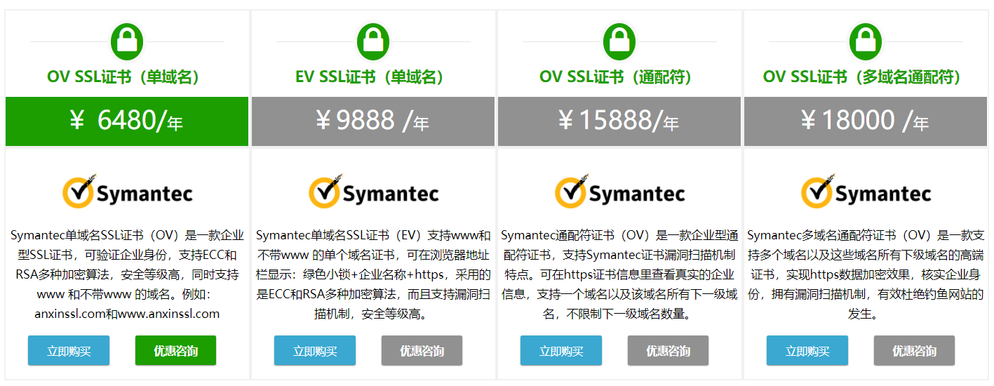 Symantec数字证书多少钱