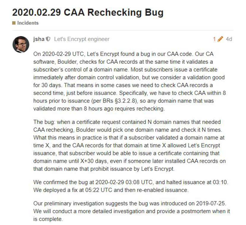 Let's Encrypt免费SSL证书出现bug